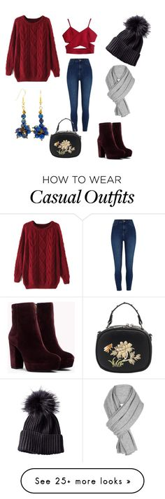 """Winter Casual"" by mysticalone-com on Polyvore featuring River Island, WithChic, Lazuli, White + Warren, love and lapislazuli"