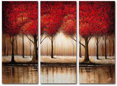 Bring a beautiful bit of color into your space with this Trademark Fine Art ''Parade Of Red Trees'' multi-panel art set. <ul> <li>Attached sawtooth hook makes hanging easy WHAT'S INCLUDED</li> <li>Three 14'' x 32'' canvases PRODUCT DETAILS</li> <li>Vertical display</li> <li>Canvas</li> <li>Ready to hang</li> <li>Wipe clean</li> <li>Model no. MA0301-
