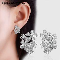 TenJshunzhu 925 Sterling Silver Jewelry AAA Zircon Rhinestone Flower Stud Earrings For Women Boucle d'oreille Pendientes EH341