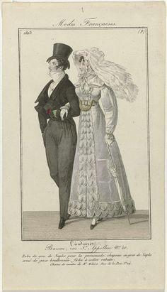 L'Indiscret, 1823, Modes Françaises, No. 9 : Robe de gros de Naples..., anoniem, 1823 1800s Fashion, 19th Century Fashion, Vintage Fashion, Empire Design, Costumes Pictures, Regency Era, France, Wedding Men, Fashion Plates