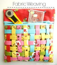 fabric weaving tutorial | sew up a mesh bag with a weaved front for notions | patchwork posse