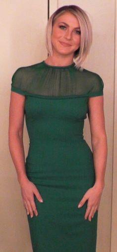 Julianne Hough is wearing a beautiful green DSquared Dress.
