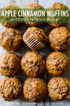 simple, AMAZING whole wheat apple cinnamon muffins with zero refined sugar. Find this easy muffin recipe on Healthy, simple, AMAZING whole wheat apple cinnamon muffins with zero refined sugar. Find this easy muffin recipe on Simple Muffin Recipe, Healthy Muffin Recipes, Healthy Baking, Healthy Snacks, Breakfast Recipes, Healthy Apple Muffins, Healthy Muffins For Kids, Healthy Steak, Healthy Man