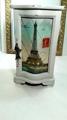 Shabby Chic Jewelry Box Paris French Distressed Jewelry Box Cottage Chic Jewelry…