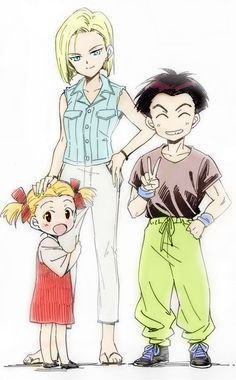 Android 18, Krillin & Marron from Dragon Ball Z. DBZ.