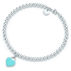 Return to Tiffany® Bead Bracelet ($150) ❤ liked on Polyvore featuring jewelry, bracelets, accessories, bijoux, necklaces, beading jewelry, beads jewellery, sterling silver heart jewelry, tiffany co jewelry and beaded bangles