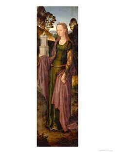 Hans Memling - Triptych of Adriaan Reins - 1480. The brocade sleeve goes under the dress sleeve.