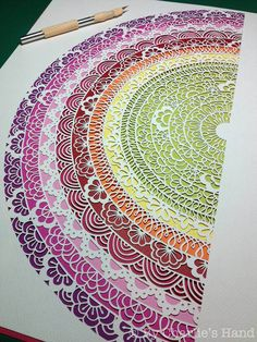 Mandala by Charlie's Hand (aka Charlotte Trimm). Cut Paper Rainbow by all things… Origami Paper Art, Paper Quilling, Diy Paper, Paper Crafts, Paper Cutting Patterns, Paper Cut Design, Book Sculpture, Mandala Art, Zentangle