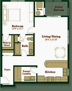 Nice little one bedroom, one bath houseplan.  I would move the entry to the end of the hallway and turn what is now the foyer into room for mechanicals.  That would allow the living/dining room expand the length of the house and make room for some lovely windows.