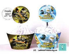 This printable set includes 2 Ninjago Cupcake Toppers and 2 Ninjago Wrappers in JPG format. These are perfect for the cupcake and muffin of your Ninjago themed party.  From LastMinutePrintables Etsy.com $3.49