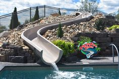 Here is a beautiful Paradise Slides, Inc. #PoolSlide Model #PS45R-S being thoroughly enjoyed in PA. Installed by Countryside Nursery, Fantastic Job! #ResidentialWaterSlide #WhatsInYourBackyard Water Slides, Pool Slides, Pool Fun, Backyard Pool Designs, Outdoor Living, Outdoor Decor, Cool Pools, Countryside, My House