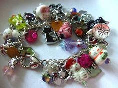 I LOVE CATS Loaded cat charm bracelet cat by NewellsJewels on Etsy, £32.00