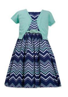 Bonnie Jean  Chevron Print Cardigan Dress Girls Plus