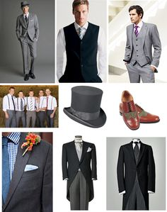 New Additions to our Wedding Idea Scrapbook: The Groom - the grey suit at the top left and right