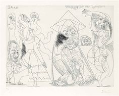 Pablo Picasso, Three Old Men, Three Nudes and Cupid, from: from: Séries 347 1968