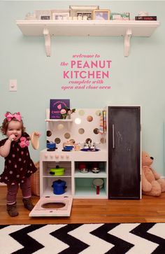 DIY play kitchen, the kiddo is getting one for sure (albeit with perhaps a little more gender-neutral color scheme)