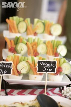 Easy Veggie Cups Bridal-Shower-Food-Ideas http://www.sweetwoodcreativeco.com/blog-posts/2014/04/15/wedding-week-april-showers