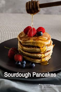 These sourdough pancakes are fluffy American pancakes made with the addition of sourdough starter making them just about the best American style pancakes you can have. Best Dessert Recipes, Fun Desserts, Real Food Recipes, Sweet Recipes, Breakfast Recipes, Brunch Recipes, Summer Recipes, Breakfast Ideas, Delicious Recipes