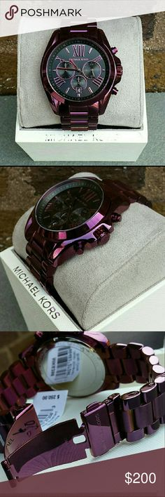 MICHAEL KORS Plum watch Bradshaw chronograph w/Roman numerals Stop watch feature Clasp fastening Case width 46mm Stainless steel  Thank you for stopping by my closet and have fun:) Michael Kors Accessories Watches