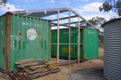 steel and timber frame on shipping container shed