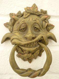 GREENMAN / GARGOYLE  GOTHIC DOOR KNOCKER..AWESOME GREEN MAN DECOR - 2 CHOICE\'S