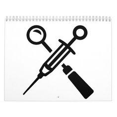 Dentist tools syringe calendar