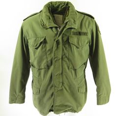 e1ed490a9a56 Vintage 70s M-65 Field Jacket L Military OG-107 w Liner Vietnam US Army  Airborne