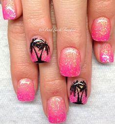 18 Chic Nail Designs for Short Nails: Hot Pink Glitter Nail Design Cruise Nails, Vacation Nails, Chic Nail Designs, Short Nail Designs, Beach Nail Designs, Fancy Nails, Pink Nails, Trendy Nails, Pink Manicure