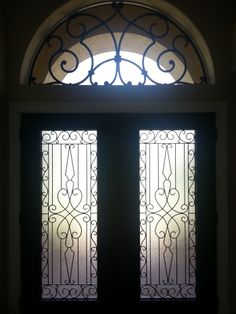 Tableaux® lightweight, versatile faux iron designer grilles have several… Arched Window Treatments, Arched Windows, Window Above Door, Craftsman Bungalow Exterior, Window Shutters Exterior, Doors Galore, Wood Arch, Wrought Iron Decor, Tuscan Design