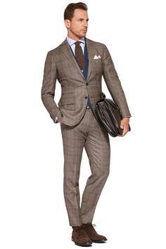 COLOURED PRINCE OF WALES SUIT - FLANNEL - MADE IN ITALY Beige | Boggi