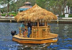 Want your own Tiki Bar boat? Well guess what, now you can buy these. Meet the Crusin Tiki. I know that when I first saw this video I wanted this Tiki Bar boat, and you probably Pontoon Boat, Boat Dock, Pt Boat, Haus Am See, Floating Dock, Lakefront Property, Bamboo House, Boat Lift, Tiki Party