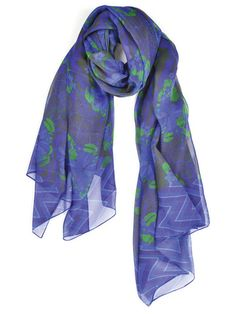 Abstract Flowers With Chevron Border Silk Scarf | Fashion Scarf | Emkyshop.com - EMKYSHOP: Fashion Scarves, Silk Scarves, Made in the USA, Inspiration | EMKYSHOP