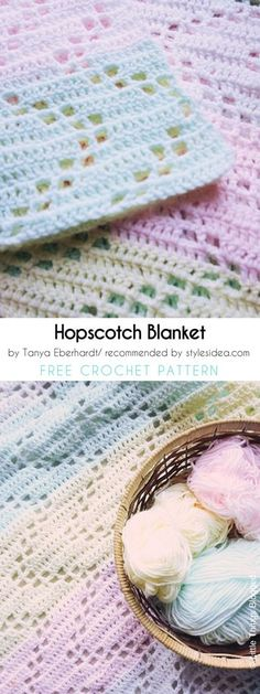 The Hopscotch Baby Blanket Free Crochet Pattern and Tutorial… Crochet Baby Blanket Beginner, Crochet Blanket Patterns, Baby Knitting, Knitting Patterns, Crochet Blankets, Baby Blankets, Baby Afghans, Crochet Afghans, Crochet Crafts