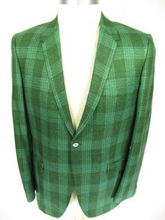 Vintage Campbell green plaid sport coat blazer. Find more men's and women's authentic vintage clothing at The Clothing Vault.