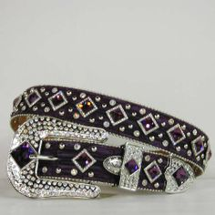 Purple Diamond Rhinestone Western Belt