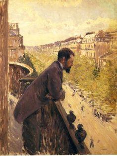 Gustave Caillebotte ,Man On A Balcony, 1880 > Adam bu manzaraya baka baka 45 yaşında kalp krizinden ölmüş. Zaten kendisinin balkondan bakmaya çok vakti olmuş çünkü aileden miras kalmış.