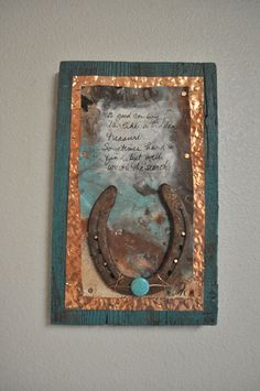 Cowboy art, horseshoe art,Cowboy gift, Turquoise, Copper, rustic western art, western decor, cowboy sign, cowboy decor