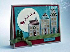 Holiday Houses with Santa Merry Christmas Fancy by JanTink on Etsy