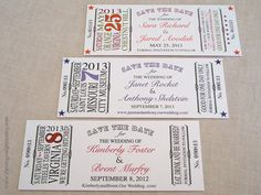 Vintage Ticket  Save the Date by theoriginalpear