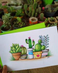 Drawing made for my brat Isabela Bonfim. # The market in cactus house plants is booming and with very good reason. These prickly little guys are great fun… Cactus Drawing, Cactus Painting, Cactus Art, Drawing Art, Cactus Plants, Cactus Decor, Succulents Drawing, Indoor Cactus, Cactus Flower