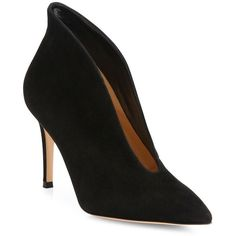 Gianvito Rossi Suede Point-Toe U Mid-Heel Booties ($835) ❤ liked on Polyvore featuring shoes, boots, ankle booties, apparel & accessories, black, black suede ankle booties, black ankle booties, black suede boots, black ankle boots and short boots