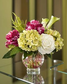 Silk Peony, Hydrangea & Rose Centerpiece modern plants