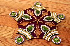 Purple Green Rangoli Kundan Rangoli Bollywood inspired by Nirman Thali Decoration Ideas, Diwali Decorations, Indian Wedding Decorations, Diwali Craft, Diwali Diy, Diwali Rangoli, Rangoli Painting, Acrylic Rangoli, Diy Popsicle Stick Crafts