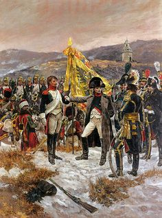 Napoleon on the bank of the river Litava awarded medals for bravery shown by a…