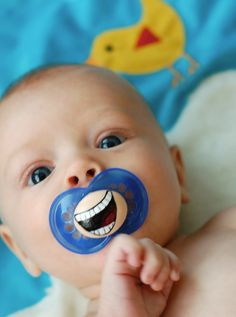 Hilarious!  Love it!  lol  The Comedian Custom Hand Painted Pacifier MAM 6 by piquantdesigns, $13.50