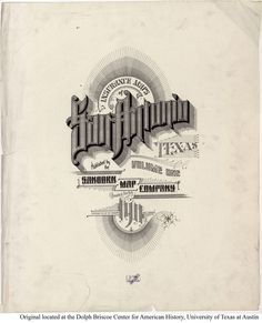 Sanborn Insurance map - Texas - SAN ANTONIO - 1911   #typography #lettering   100% 4255 × 5202 pixels  The Typography of Sanborn New York City Maps http://annyas.com/typography-of-sanborn-new-york-city-maps/  Sanborn map company logo and lettering  http://annyas.com/sanborn-map-company-logo-lettering/