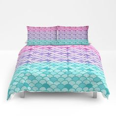 Mermaid Scales   Comforter or Duvet Cover Set  Twin, Full, Queen, King Bedding- Pink Teal Purple