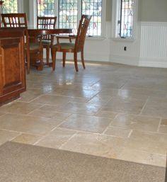 kitchen stone floors | Tumbled marble kitchen tile floor | New Jersey Custom Tile