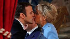 Emmanuel Macron and his wife, Brigitte Trogneux, before he was sworn in as French president at a ceremony in Paris yesterday