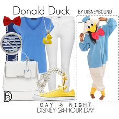 Donald Duck by leslieakay on Polyvore featuring Warehouse, Paige Denim, Converse, Sperry Top-Sider, Charming Life, disney, disneybound and disneycharacter